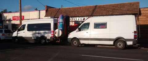 White Sprinter Vans on a steak date at the Mesquitery!